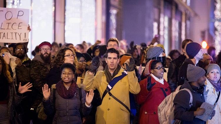 """Des manifestants rassemblés contre les """"brutalités policières"""" à Chicago (Etats-Unis), le 5 décembre 2014. (SCOTT OLSON / GETTY IMAGES NORTH AMERICA / AFP)"""