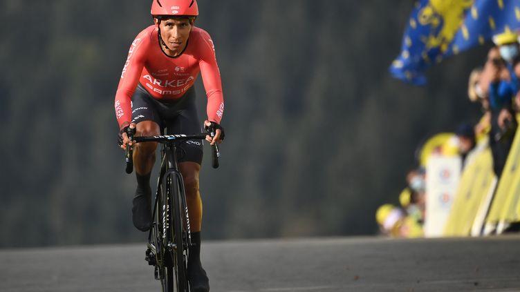 La Colombien Nairo Quintana à l'arrivée de la 20ème étape du Tour de France 2020. (MARCO BERTORELLO / AFP)
