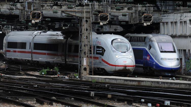 Unproblème d'alimentation électrique empêche la circulation des TGV, TER, Vallée de la Marne, Intercités et Transilien Est, Gare de l'Est à Paris, le 3 février 2016. (ERIC PIERMONT / AFP)