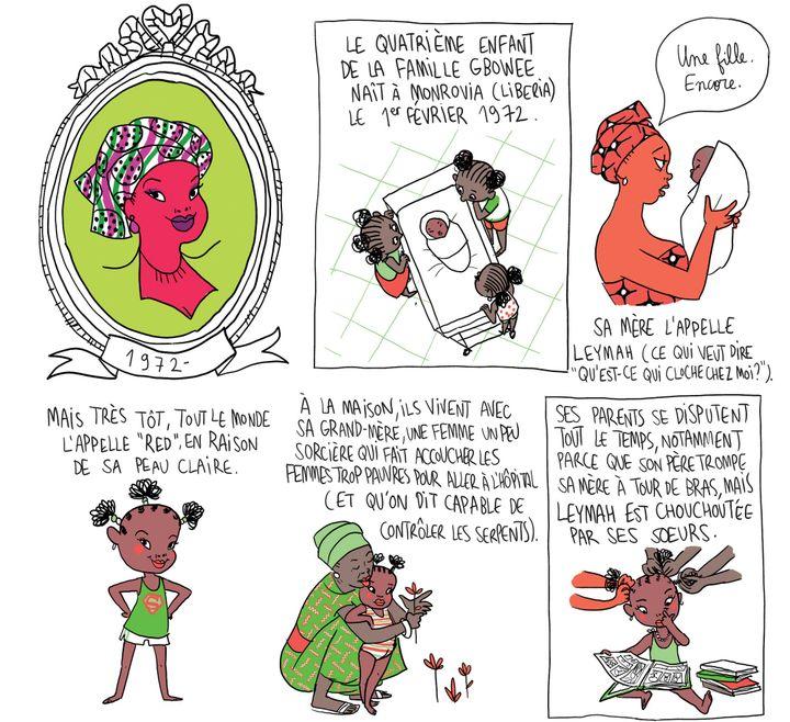 """""""Culottées"""", détail page 105 Leymah Gbwee, travailleuse sociale  (Pénélope Bagieu)"""