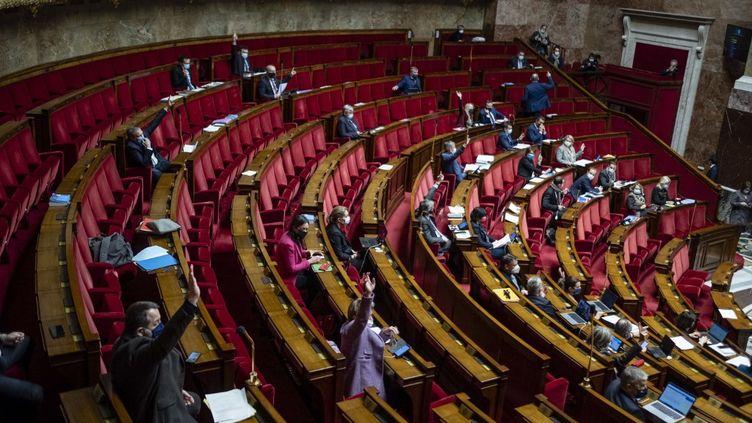 L'Assemblée nationale, le 10 février 2021. (HUGO PASSARELLO LUNA / HANS LUCAS / AFP)