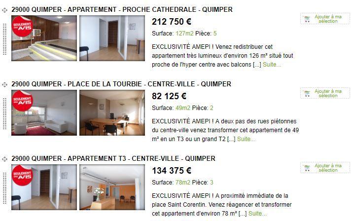 Capture d'écran au 21 novembre 2017 du site Avis Immobilier Quimper présentant les trois annonces de vente de l'ancienne permanence de Jean-Jacques Urvoas. (AVIS IMMOBILIER QUIMPER / FRANCEINFO)