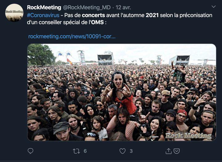 Capture d'écran d'un tweet annonçant le retour des concerts à l'automne 2021. (CAPTURE ECRAN)