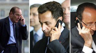 Jacques Chirac, Nicolas Sarkozy et François Hollande, au téléphone, lors de leur mandat présidentiel. (REUTERS)