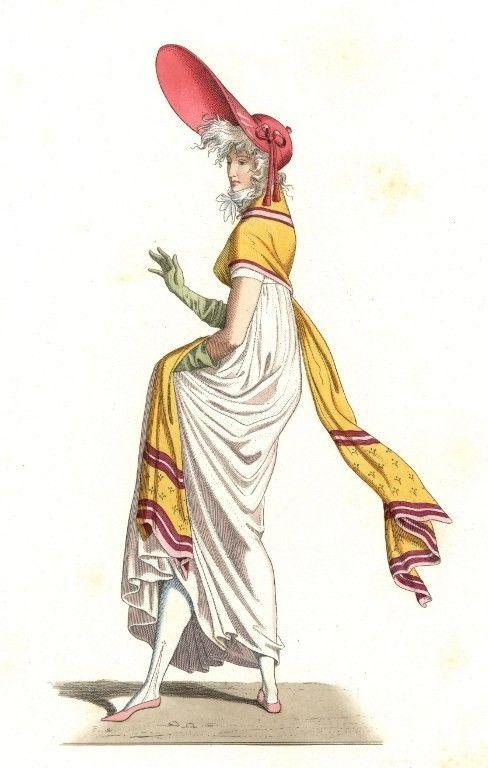 Jeune femme francaise vetue a la mode des Merveilleuses du 18e siecle, d'apres une peinture de Carle Vernet (1758-1836)  (Leemage)