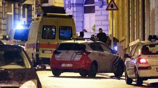La police belge à Verviers(Belgique) après l'assaut antiterroriste lors duquel ont été tués deux suspects, le 15 janvier 2015. (BRUNO FAHY / BELGA / AFP)