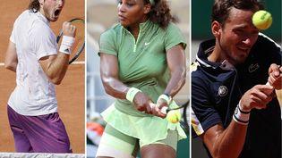 De gauche à droite : Stefanos Tsitsipas, Serena Williams et Daniil Medvedev. (AFP/Gao Jing via MaxPPP)
