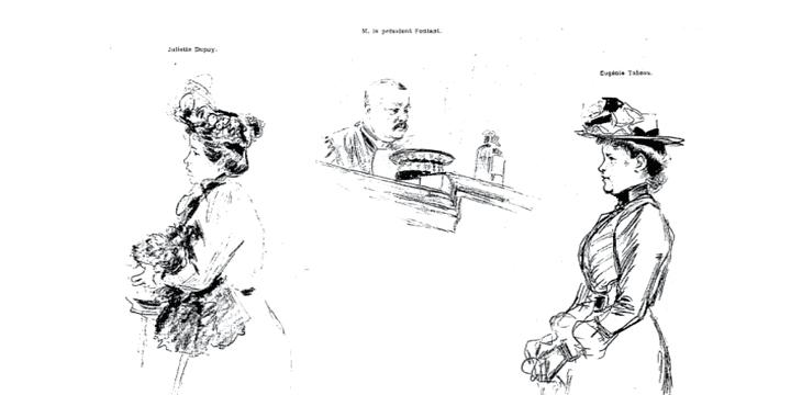 Dessin de presse de deux bonnes travaillant pour la famille Monnier pendant le procès de Marcel Monnier  (France3/culturebox)