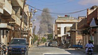 Des bombardements dans les environs d'Idlib (Syrie), le 7 septembre 2018. (ANAS AL-DYAB / AFP)
