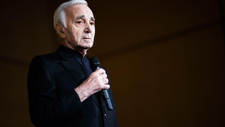 Charles Aznavour lors du grand concert de la francophonie, ausiège des Nations unies à Genève, le 13 mars 2018. (VALENTIN FLAURAUD / KEYSTONE)