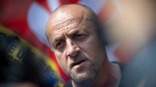Maël Le Goff,délégué CGT à la Fonderie de Bretagne, le 1er juin 2021. (LOIC VENANCE / AFP)