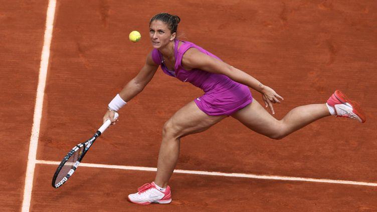 Sara Errani en action lors de son quart de finale contre Angélique Kerber
