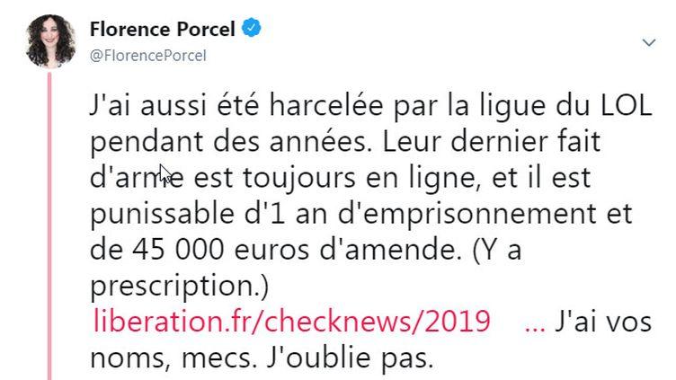 """La Youtubeuse Florence Porcel a affirmé, sur Twitter, avoir été harcelée pendant plusieurs années par la """"Ligue du LOL"""", dont l'existence a été médiatisée par """"Libération"""", le 8 février 2019 (FLORENCE PORCEL / TWITTER)"""