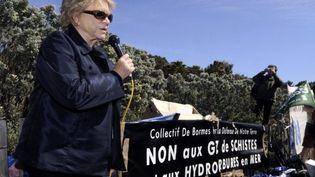 Eva Joly dans le Var à une manifestation contre des forages en mer (BORIS HORVAT / AFP)