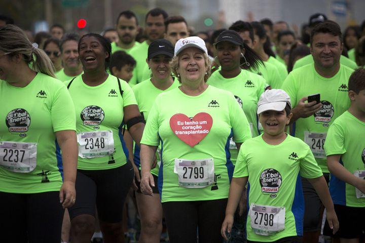 La BrésilienneIvonette Balthazar participe à une course de trois kilomètres le long de Copacabana, à Rio de Janeiro (Brésil), dimanche 24 septembre 2017. (MAURO PIMENTEL / AFP)