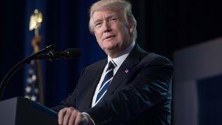 Donald Trump lors d'une conférence de presse à Washington (Etats-Unis), le 8 juin 2017. (NICHOLAS KAMM / AFP)