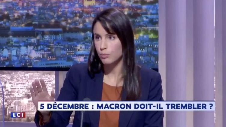 """L'éditorialiste Julie Graziani sur le plateau de """"24 Pujadas"""" sur LCI, lundi 4 novembre 2019. (CAPTURE D'ÉCRAN / LCI)"""