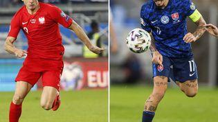 Robert Lewandovski (Pologne) et Marek Hamsik (Slovaquie). (JACK GUEZ / AFP)