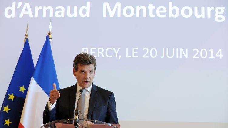 Le ministre de l'Economie, Arnaud Montebourg, dévoile la décision de l'Etat concernant le rachat d'Alstom, lors d'une conférence de presse à Paris, le 20 juin 2014. (ERIC PIERMONT / AFP)