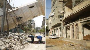 Une rue de Gaza détruite par des frappes israéliennes, le 15 août 2014 (à gauche) et le 6 juillet 2015 (à droite). (MOHAMMED SALEM / REUTERS)