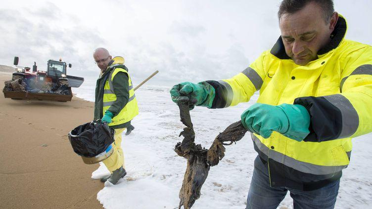 A Olonne-sur-Mer (Vendée), toutes les plages ont été fermées au public, en raison d'une pollution aux hydrocarbures. (MAXPPP)