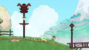 "Stella et le chatDaffodil dans ""Spiritfarer"". (Thunder Lotus Games)"