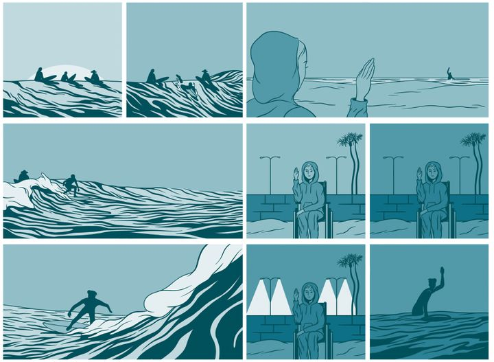 """""""In waves"""", pages 132-133 (Aj Dungo / Casterman)"""