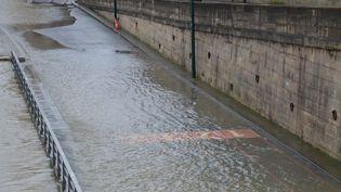 Une crue de la Seine, à Paris, samedi 20 janvier 2018. (ALPHACIT NEWIM / CROWDSPARK / AFP)