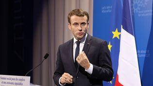 Emmanuel Macron en conférencede presse à Göteborg(Suède), le 17 novembre 2017. (LUDOVIC MARIN / AFP)