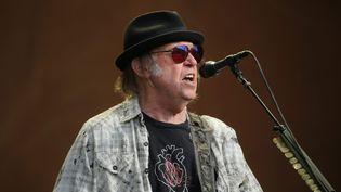 Neil Young, ici lors de son concert à Hyde Park, à Londres, l'été dernier. (ISABEL INFANTES / MAXPPP)