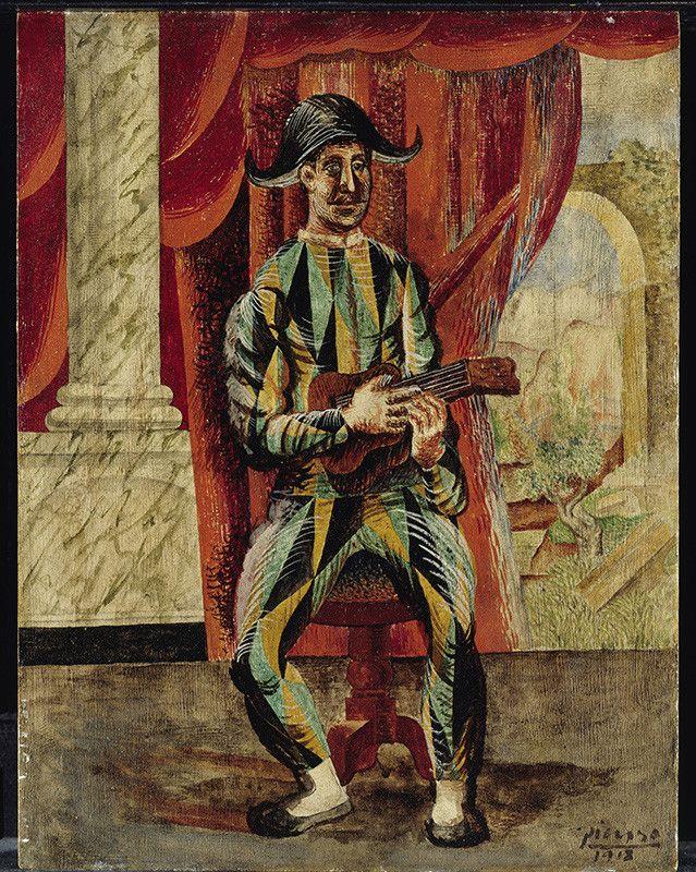Pablo Picasso (1881-1973)Arlequin à la guitare,Paris, 1918Huile sur bois, 35 x 27 cm, Staatliche Museen zu Berlin, Nationalgalerie, Museum Berggruen. NG MB 30/2000 (copyright :bpk / Nationalgalerie, SMB, Museum Berggruen / Jens Ziehe)