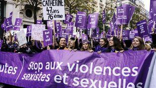 """Une manifestation du collectif """"#NousToutes"""", à Paris le 23 novembre 2019. (DENIS MEYER / HANS LUCAS / AFP)"""