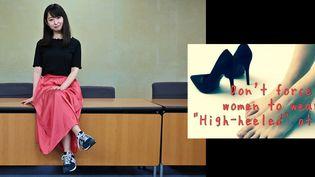 La comédienne japonaise Yumi Ishikawa fondatrice du mouvement#KuToo visant à en finir avec l'obligation de porter des talons au bureau, conférence de presse, Tokyo, 3 juin 2019 (Charly TRIBALLEAU / AFP)