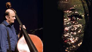 """Le contrebassiste Patrice Caratini sur scène le 23 mars 2009 à Colombes. Il dirige l'ONJ le6 mars 2021 à Radio France. À droite, l'affiche du programme""""Anna Livia Plurabelle"""". (Benjamin Lemaire / MaxPPP)"""