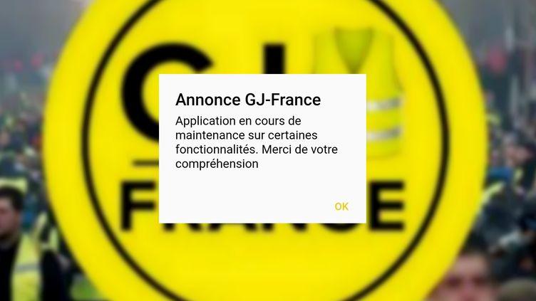 Le message de maintenance affiché mercredi 23 janvier 2019 sur l'application GJ-France. (GJ-FRANCE)