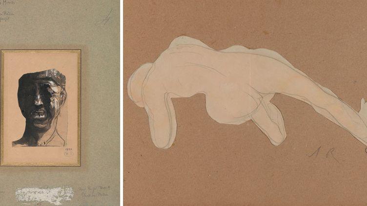 """Auguste Rodin, à gauche, """"Masque de Minos"""", vers 1883, crayon graphite, encre et gouache sur papier découpé collé sur papier vélin - A droite, """"Nu de dos"""", le seul papier découpé exposé du vivant de l'artiste  (musée Rodin, photo Jean de Calan)"""