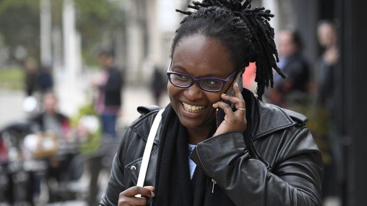 Sibeth Ndiaye, chargée des relations avec la presse auprès d'Emmanuel Macron, le 6 mai 2017 au Touquet (Pas-de-Calais). (ERIC FEFERBERG / AFP)