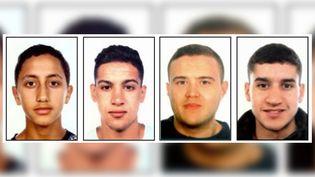 Moussa Oukabir, Saïd Aallaa, Mohamed Hychami etYounès Abouyaaqoub (de gauche à droite), suspects dans l'enquête sur les attentats en Catalogne du 17 août 2017. (MOSSOS D'ESQUADRA / AFP)