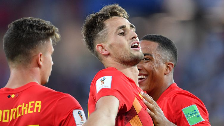 Le Belge Adnan Januzajcélèbre son but face à l'Angleterre, jeudi 28 juin à Kaliningrad (Russie), lors du dernier match de la phase de poules. (VLADIMIR PESNYA / SPUTNIK / AFP)