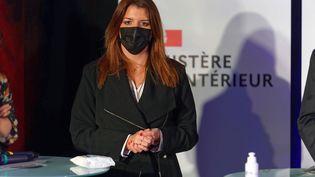 Marlène Schiappa àFlers-en-Escrebieux (Nord), le 16 mars 2021. (SYLVAIN LEFEVRE / HANS LUCAS / AFP)