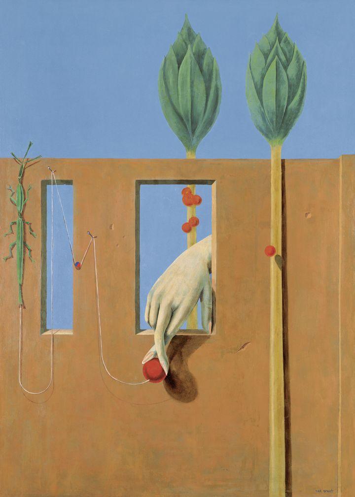 "Max Ernst, ""Au Premier Mot limpide"", 1923. Huile sur plâtre, reporté sur toile, 232 × 167 cm. Kunstsammlung Nordrhein-Westfalen, Düsseldorf. (2013, PROLITTERIS, ZURICH / PHOTO WALTER KLEIN, DÜSSELDORF)"