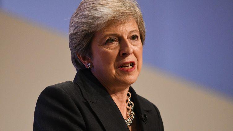 La Première ministre britannique, Theresa May, le 3 octobre 2018 àBirmingham, au Royaume-Uni. (OLI SCARFF / AFP)
