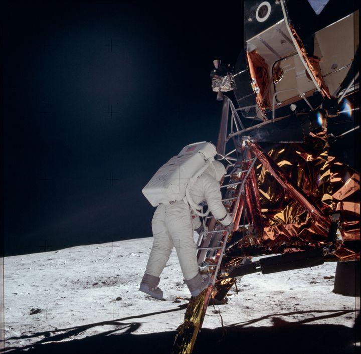 Buzz Aldrin arrive sur la Lune, le 20 juillet 1969. (PROJECT APOLLO ARCHIVE / FLICKR)