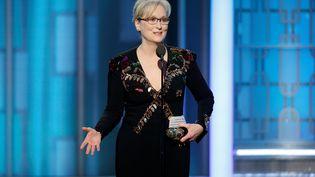 L'actrice Meryl Streep sur la scène des 74e Golden Globe Awards, à Beverly Hills (Californie), le 8 janvier 2017. (REUTERS)