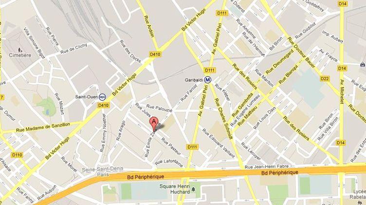 La rue Emile-Zola à Saint-Ouen (Seine-Saint-Denis), où un chômeur a tenté de s'immoler par le feu le 15 février 2013. (GOOGLE MAPS / FRANCETV INFO)