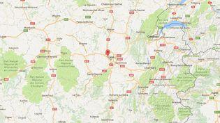 Capture d'écran de Googlemaps pointant Dardilly (Rhône) où un fourgon a été braqué par au moins trois malfaiteurs, le 12 décembre 2016. (GOOGLEMAPS)