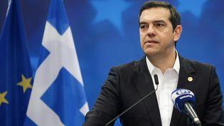 Le Premier ministre grec, Alexis Tsipras à la Commission européenne le 29 juin 2018. (ARIS OIKONOMOU / AFP)