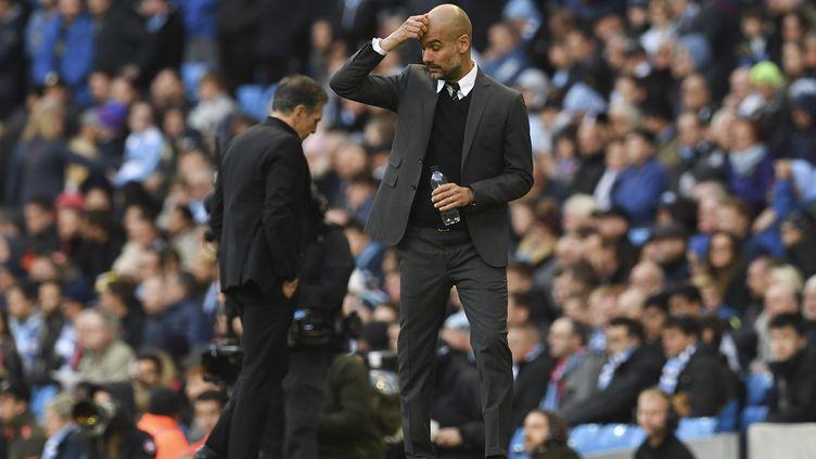 Guardiola n'avait pas aligné cinq matchs sans victoire depuis 2009. (PAUL ELLIS / AFP)