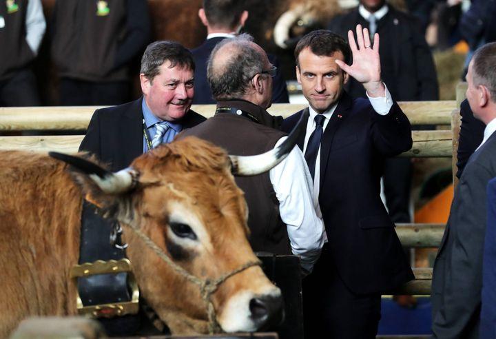 Emmanuel Macron au Salon de l'Agriculture, le 24 février 2018. (BONNAUD GUILLAUME / MAXPPP)