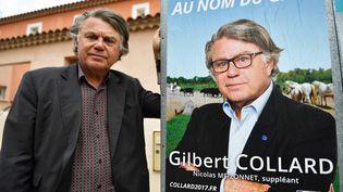 Gilbert Collard pose devant une affiche de campagne, le 1er juin 2017, àGallician (Gard). (PASCAL GUYOT / AFP)